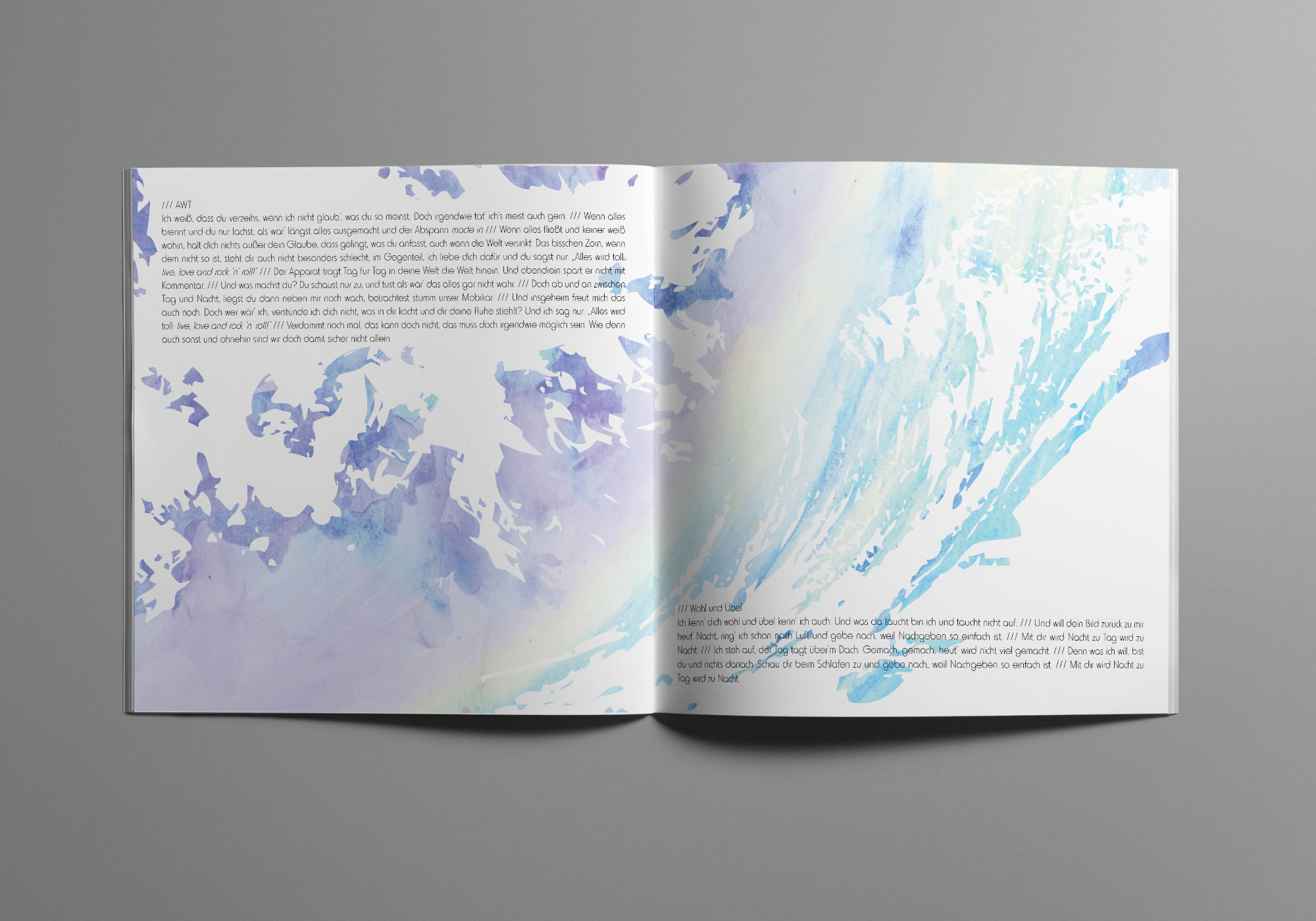 Die Doppelseite des Album Artworks zeigt Strukturen von Feuer und Wasser.