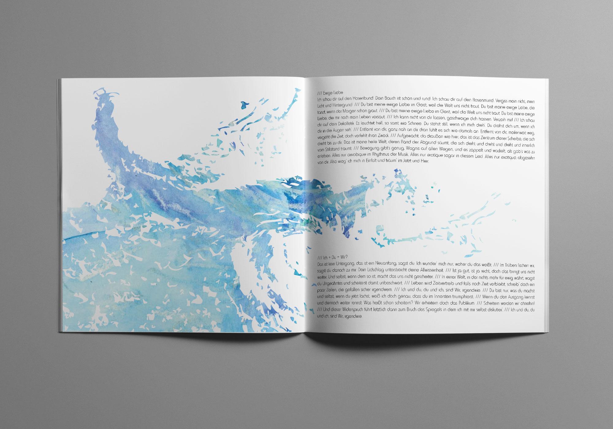 Die Doppelseite des Album Artworks zeigt Wirbel in Wasser und Wolken.