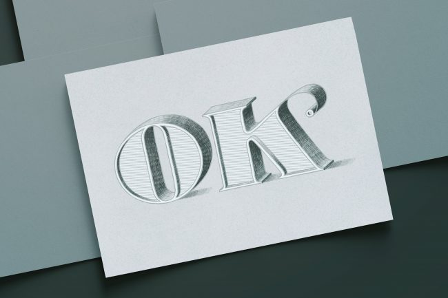 delicate 3D pencil drawing of the letters OK